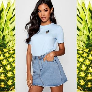 Boohoo Pineapple T Shirt in Light Blue